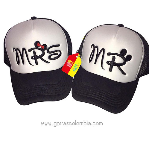 gorras negras frente blanco para pareja mr y mrs