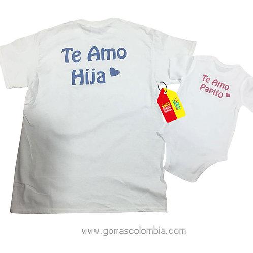 camisetas blancas para familia te amo papito e hija