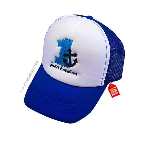 gorra azul frente blanco para niño ancla numero