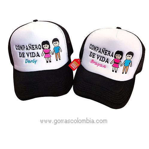 gorras negras frente blanco para pareja compañero y compañera