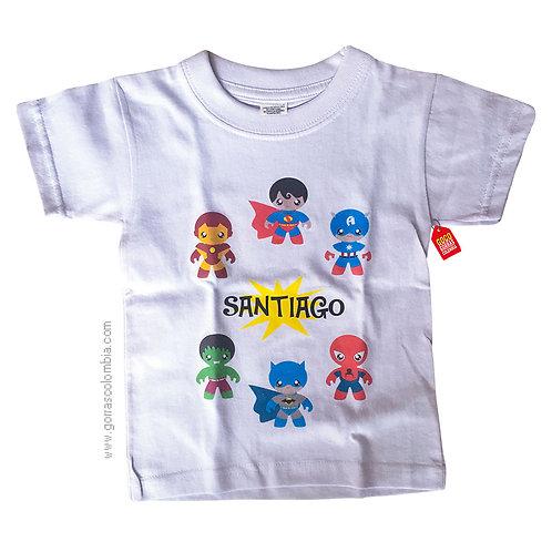 camiseta blanca para niño de super heroes