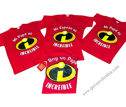 camisetas rojas para familia papá increible