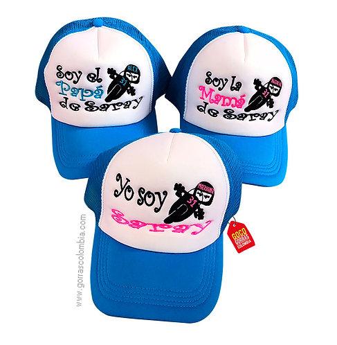 gorras azules frente blanco para familia motos