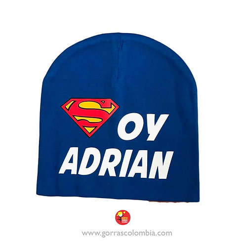 gorro azul unicolor para bebe superman