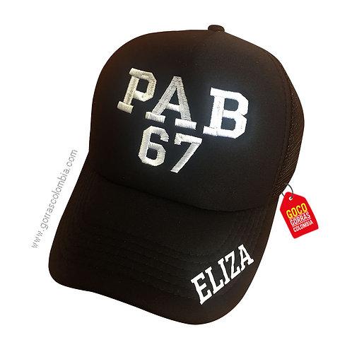 gorra negra unicolor personalizada pab