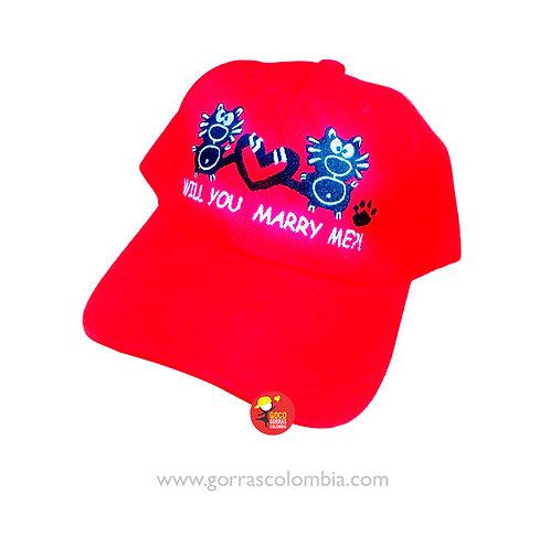 gorra roja unicolor personalizada will you marry me