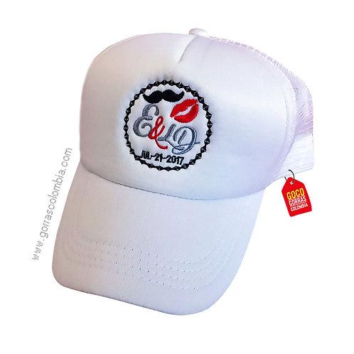 gorra blanca unicolor personalizada boda
