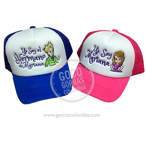 gorras azul y fucsia frente blanco para familia princesita sofia