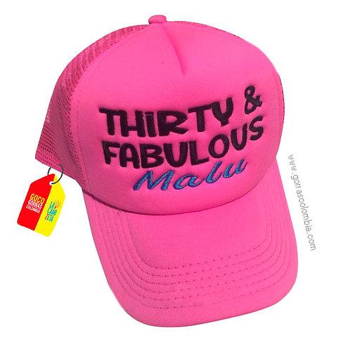 gorra fucsia unicolor personalizada thirty y fabulous