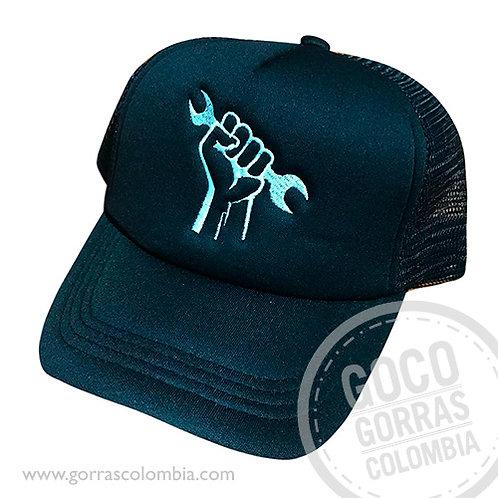 gorra negra unicolor personalizada mecanico