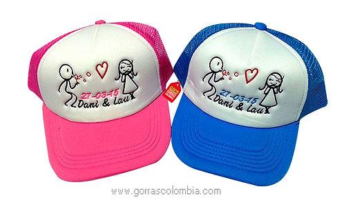 gorras azul y fucsia frente blanco para pareja burbujero
