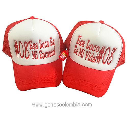 gorras rojas frente blanco para pareja mi encanto y mi vida