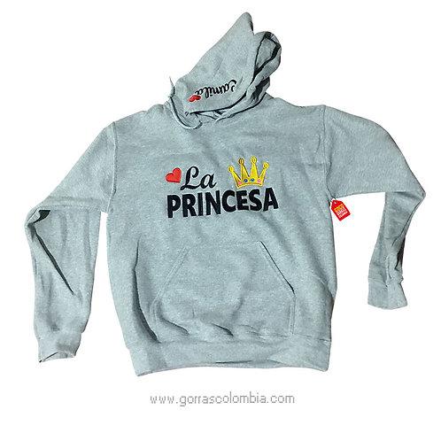 buso gris con capota para niña princesa