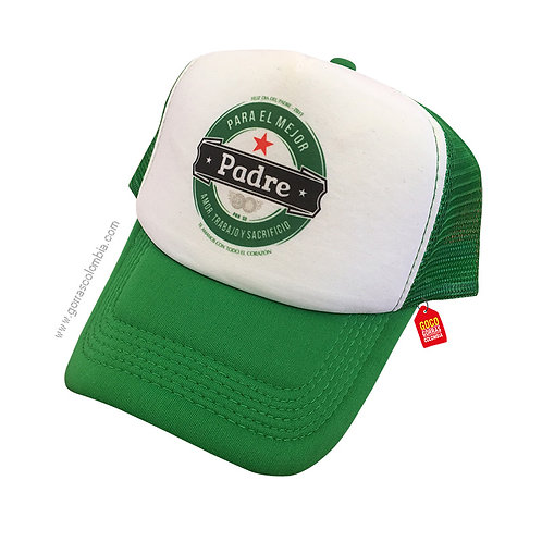 gorra verde frente blanco para familia padre logo heiniken
