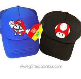 gorras negra y azul unicolor para pareja super mario