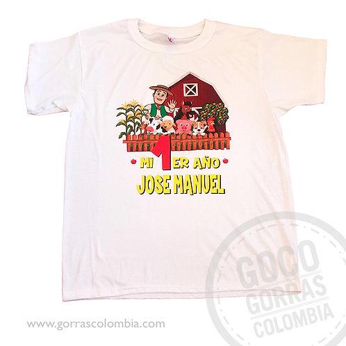 camiseta blanca para niño cumpleaños granja