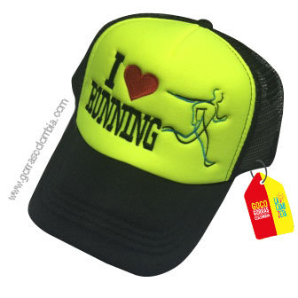 gorra negra frente verde personalizada i love running