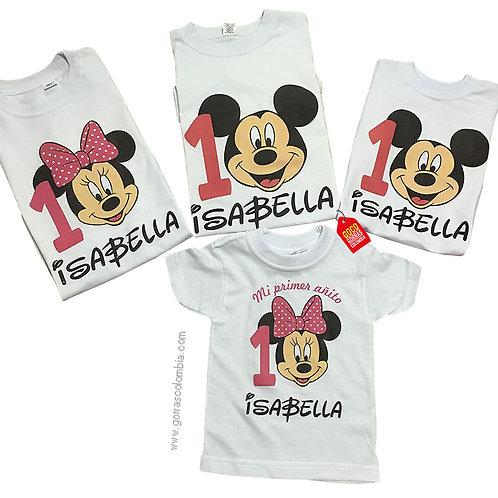 camisetas blancas para familia de mickey cumpleaños