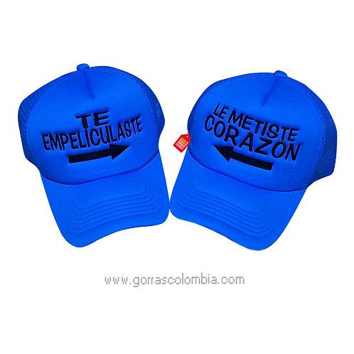 gorras azules unicolor para pareja te empeliculaste