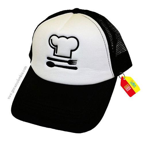 gorra negra frente blanco personalizada chef