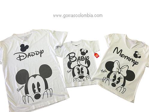camisetas blancas para familia de mickey daddy mommy y baby