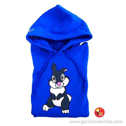 buso azul con capota personalizado conejo