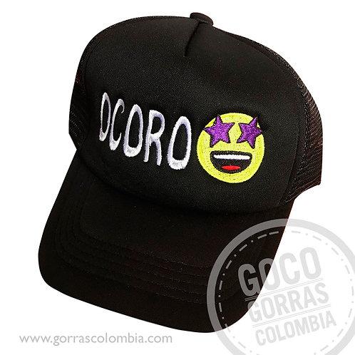 gorra negra unicolor personalizada emoji ojos estrella