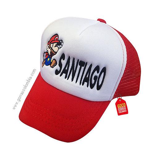 gorra roja frente blanco para niño de super mario