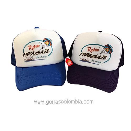 gorras azul y negra frente blanco personalizadas parasail san andres