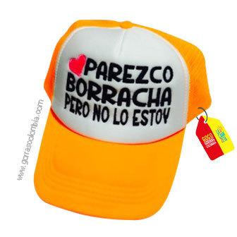 gorra naranja frente blanco personalizada parezco borracha