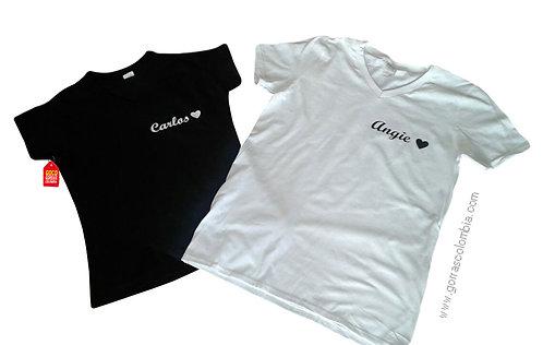 camisetas negra y blanca para pareja nombres