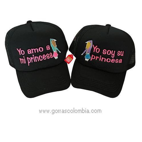 gorras negras unicolor para pareja yo amo a mi princesa