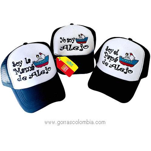 gorras azules frente blanco para familia barco