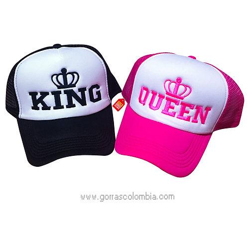 gorras negra y fucsia frente blanco para pareja king y queen