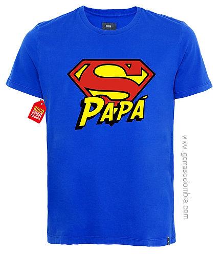 camiseta azul para familia super papá