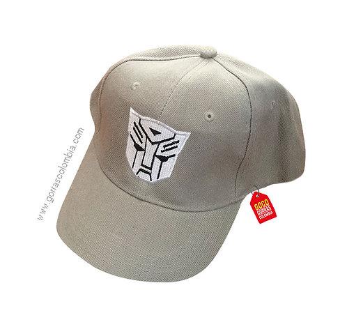 gorra gris unicolor personalizada transformers