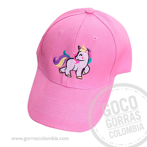 gorra rosada unicolor personalizada unicornio