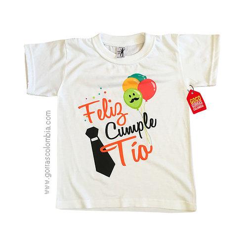 camiseta blanca para niño feliz cumple tio