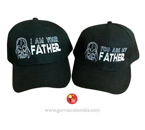 gorras negras unicolor para familia star wars papa e hijo