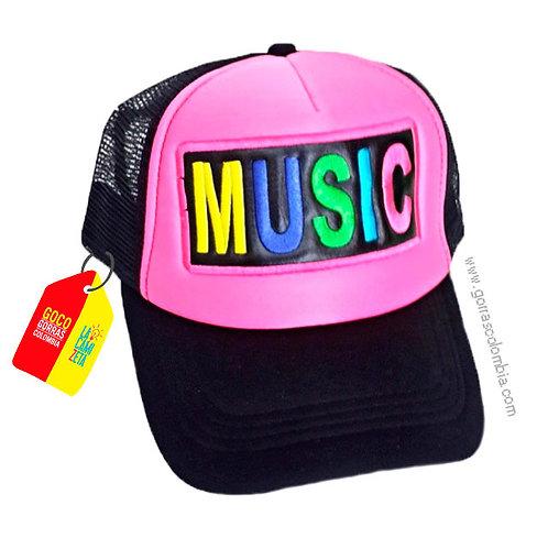 gorra negra frente fucsia personalizada music