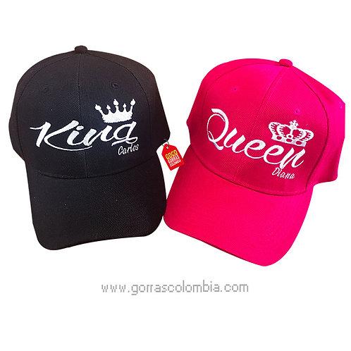 gorras negra y fucsia unicolor para pareja king y queen nombres