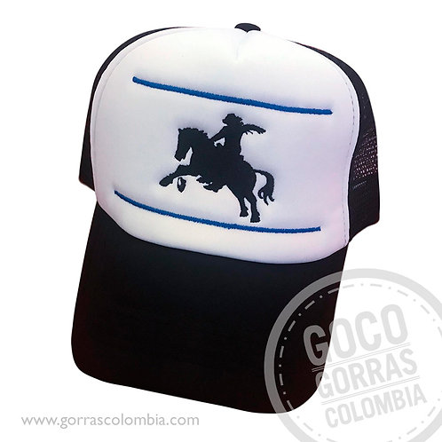 gorra negra frente blanco personalizada cabalgata