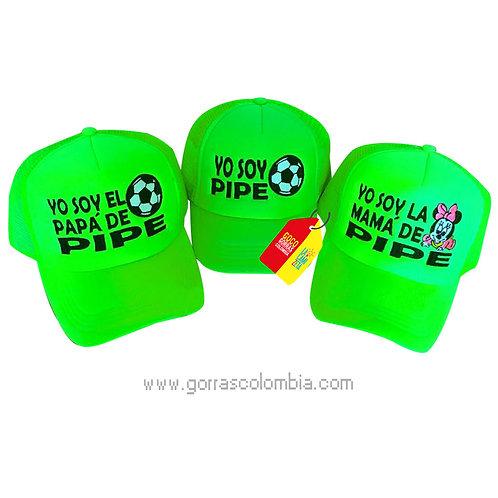gorras verde neon unicolor para familia balón y minnie
