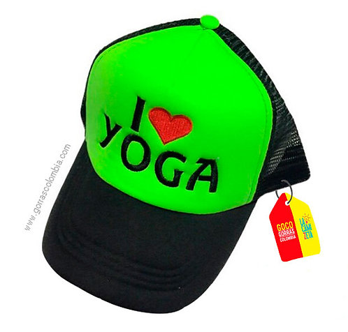 gorra negra frente verde personalizada i love yoga