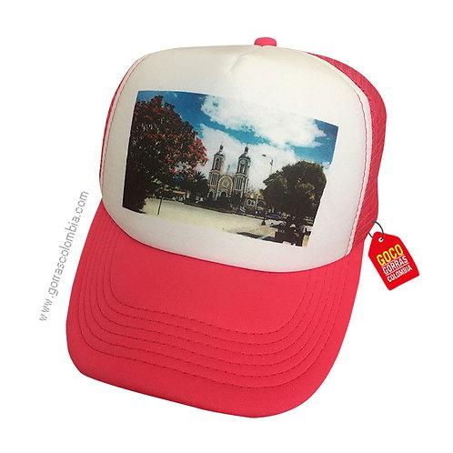 gorra fucsia frente blanco personalizada foto