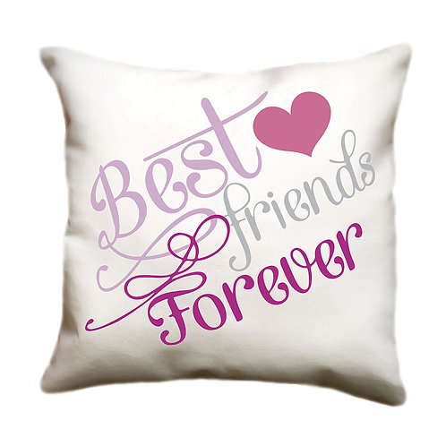 cojin blanco personalizado best friends forever
