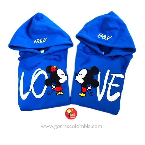 busos azules con capota para pareja love mickey