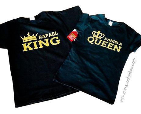 camisetas negras para pareja de king y queen