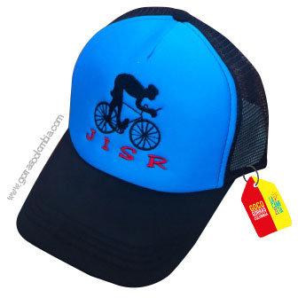 gorra negra frente azul personalizada ciclista