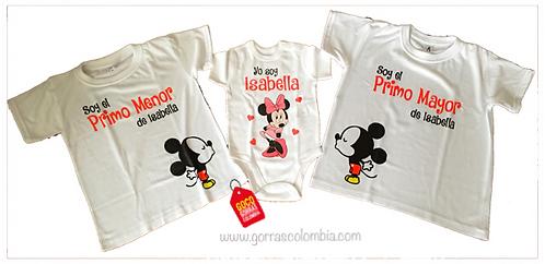 camisetas blancas para familia de mickey primos